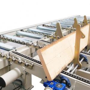 Transfer in carico a catene - giratavole per troncatrici semiautomatiche
